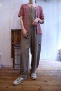 60〜70年代くすみピンクかぎ編みクルーネック半袖カーディガン