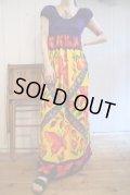 70年代パープル×カラフルチューリップ&バタフライ柄ラウンドネックフレンチスリーブ半袖ドレス