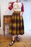 50〜60年代オリーブグリーン×ブラウンチェック柄フレアスカート