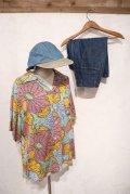 サックス×カラフル花柄胸ポケット付き開襟半袖レーヨンシャツ