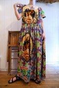カラフルフォトプリントラウンドネック半袖バティックドレス