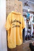 50年代イエロー×ブラウンチェーンステッチ開襟半袖ボーリングシャツ